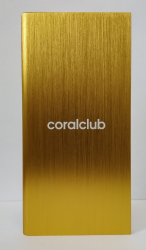 Powerbank z logo Coral Club, złoty